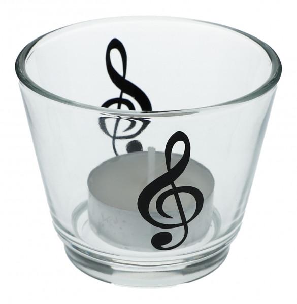 """Glas-Windlicht """"Violinschlüssel"""""""