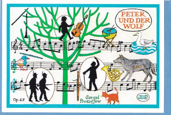 kunstkarte prokofjew peter und der wolf mit klassischen titeln gru karten karten. Black Bedroom Furniture Sets. Home Design Ideas