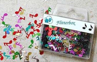 """Flitterbox """"Noten"""" bunt"""