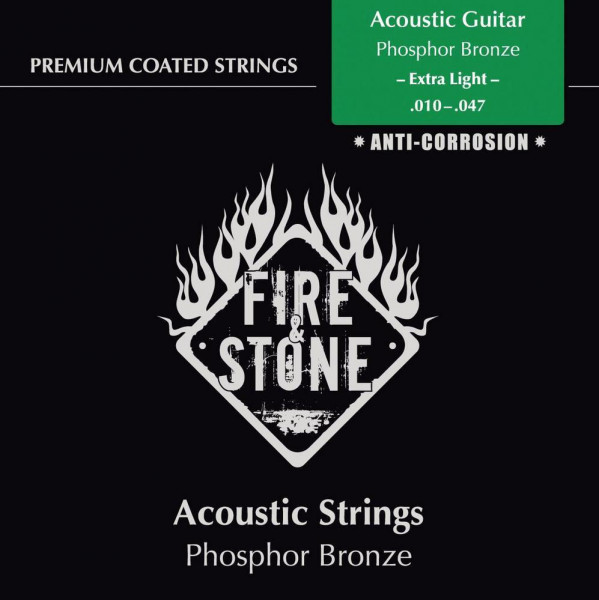 Fire & Stone Saiten Westerngitarre - Extra Light