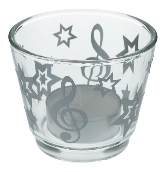 Glas-Windlicht - Notenschlüssel mit Sternen