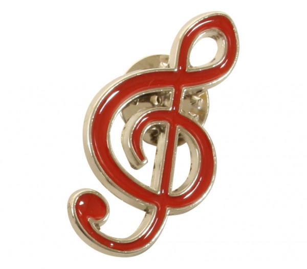 "Pin ""Violinschlüssel"" silber/rot"