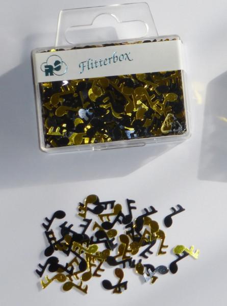 "Flitterbox ""Noten"" schwarz/gold"