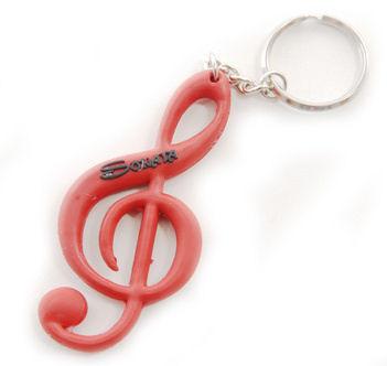 """Schlüsselanhänger """"Violinschlüssel"""" rot Kunststoff"""