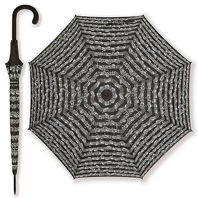 Regenschirm mit Notenzeilen - schwarz