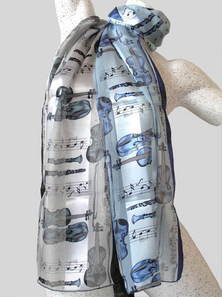 """Polyester-Schal """"Musikinstrumente & Noten"""""""
