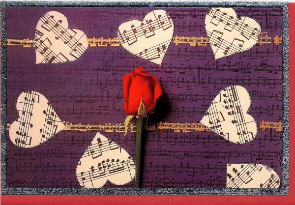 """Kunstkarte """"Rose mit Herzen"""""""
