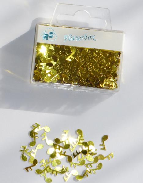 """Flitterbox """"Noten"""" gold"""