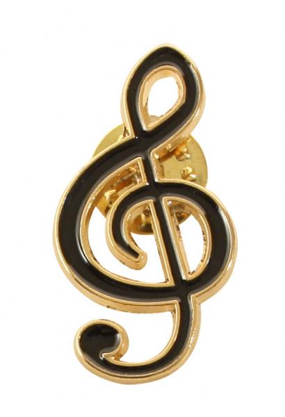 """Pin """"Violinschlüssel"""" schwarz/gold"""