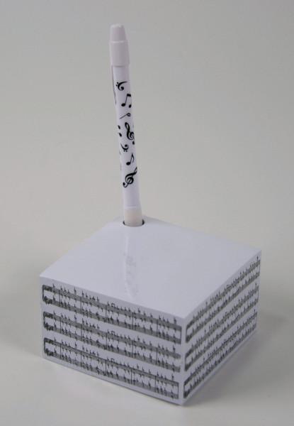 """Notizblock """"Noten"""" mit Kugelschreiber"""
