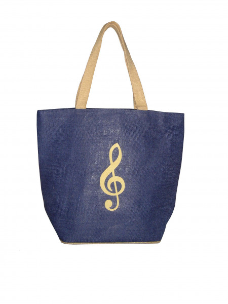 """Jute-Tasche """"Violinschlüssel"""" blau"""