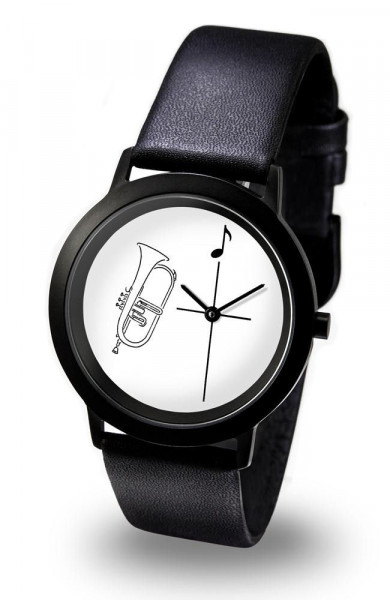 """Armbanduhr """"Flügelhorn"""" - Black Line"""