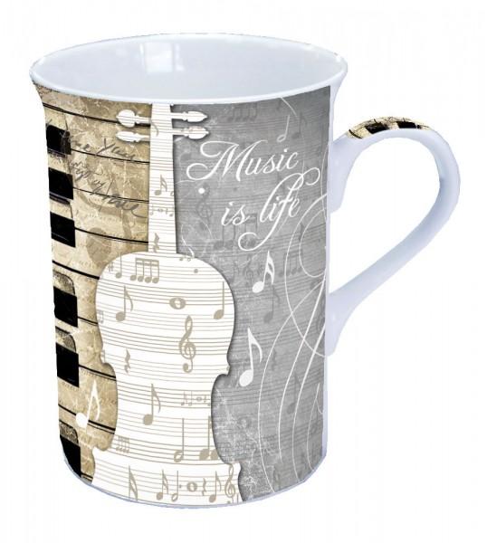 """Porzellanbecher """"Music is Life"""""""